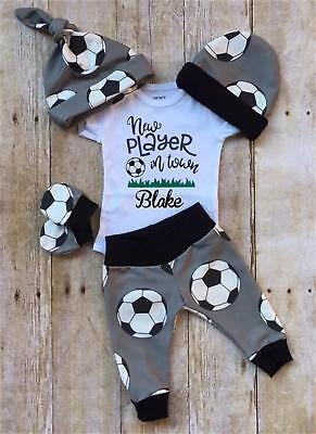 US Newborn Infant Baby Boy Casual Top Romper Pants Beanie Hat Outfit Clothes Set - Infant Boy Outfit