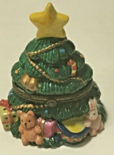 Decorated Christmas Tree with Ornaments, Bunny, and Bear Hinged Trinket Box