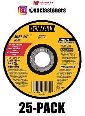 Qty 25 Dewalt Dw8062 4-12 X .045 X 78 Metal Cut-off Wheel