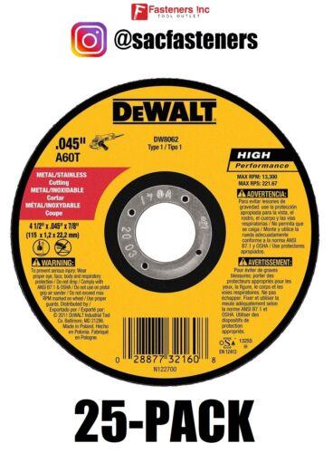 """(QTY 25) DEWALT DW8062 4-1/2"""" x .045 x 7/8"""" Metal Cut-Off Wheel"""