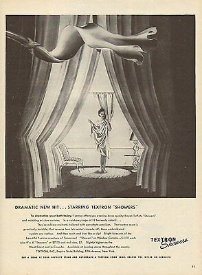 1944 vintage AD TEXTRON Rayon Taffeta Shower Curtain nice ART ! 061516