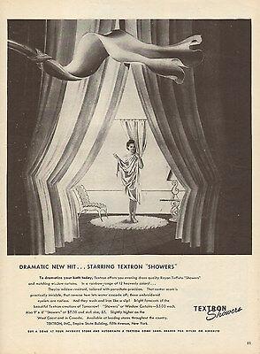 1944 vintage AD TEXTRON Rayon Taffeta Shower Curtain nice ART ! 061516