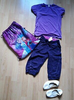ng Paket Sommer, Schulsport 134 146 Tasche T-Shirt Hose lila  (Mädchen Schule Kleidung)