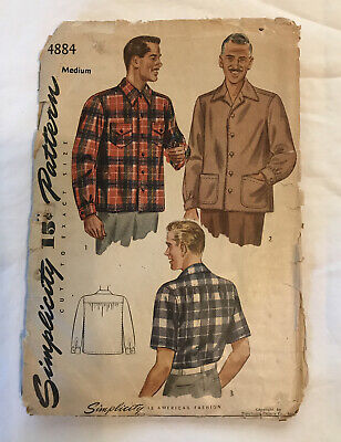 1940s Men's Shirts, Sweaters, Vests VINTAGE 1940s SIMPLICITY PATTERN 4884 MENS SHIRT ~ UNUSED With INSTRUCTIONS $29.99 AT vintagedancer.com
