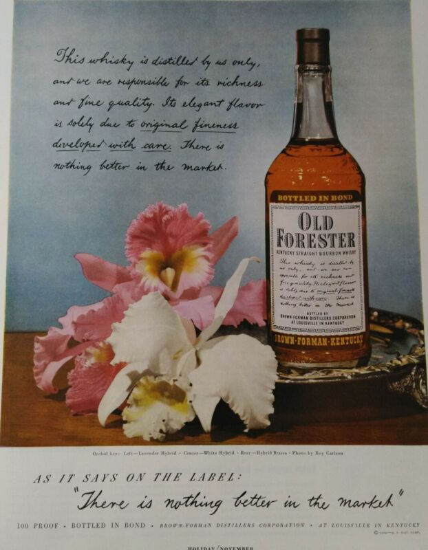 Old Forester Whiskey Kentucky Liquor Original Color Print Ad Advertising 1949