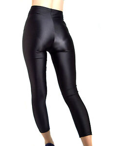 HIGH-WAISTED-BLACK-SHINY-SPANDEX-LEGGINGS-XS-XXXL-Tall