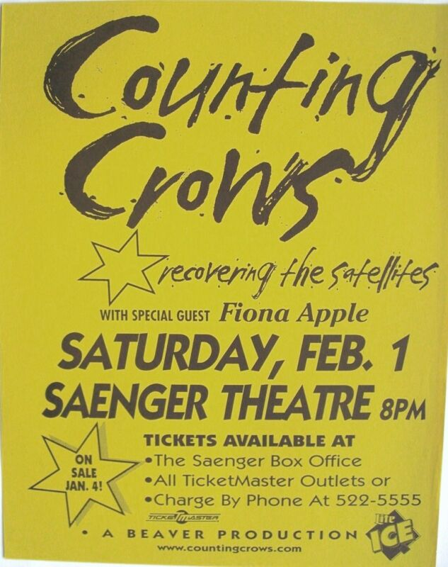 """COUNTING CROWS 1997 """"RECOVERING THE SATELLITES TOUR"""" PENSACOLA CONCERT POSTER"""