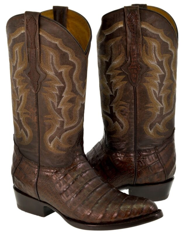 Mens, Brown, Genuine, Crocodile, Belly, Exotic, Skin, Leather, Cowboy, Boots, Pointed, Toe