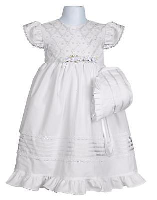Baby Girls White Shantung Dress Gown 2 Pc Bonnet Baptism Christening Dedication