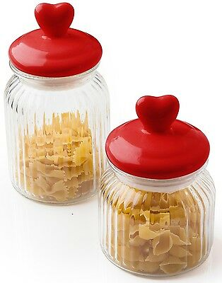 Sabichi Glass Heart Glass Storage Jars With Airtight Seal 60