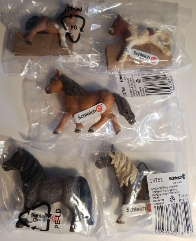 (5) NEW RETIRED Schleich SHETLAND HORSES, Pony Mare, Geldings & Foals #13750+