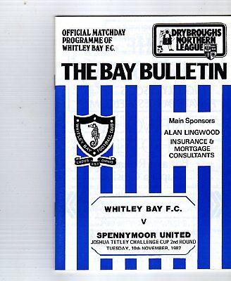 WHITLEY BAY  V SPENNYMOOR UTD 10/11/1987 tetley challenge cup PROGRAMME