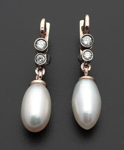 Vintage Russian  Gold Diamond Pearl Earrings