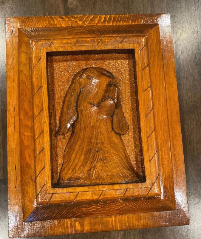 Black Forest Vintage Wood Carved Picture Dog