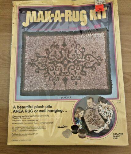 "Vintage Sew Simple Mak-a-Rug Latch Hook Kit 20"" x 27"" NEW NIB"