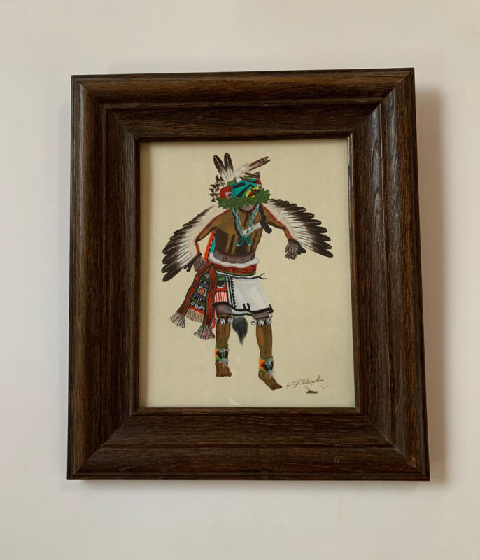 CLIFF BAHNIMPTEWA PAINTING HOPI EAGLE KACHINA CLIFFORD Native American Vtg '84