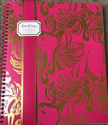 Lilly Pulitzer Notebook - Lined Sheets With Pocket Pinkgoldflamingo