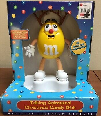 M&M's Talking Animated Christmas Candy Dish Yellow Character Reindeer NEW