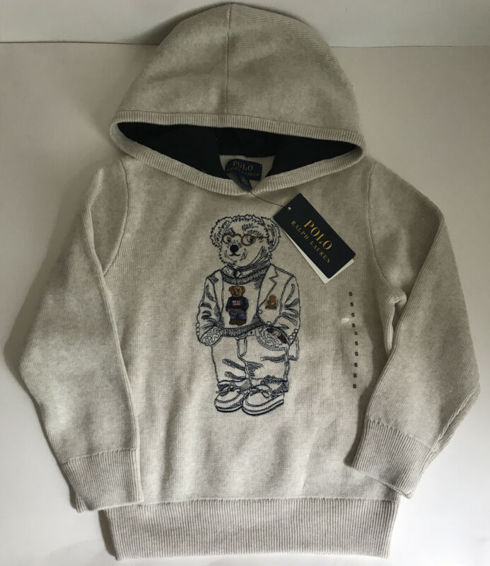 NWT!!Polo Ralph Lauren Little Boys Cotton Hooded Sweater SZ 5 (sale)