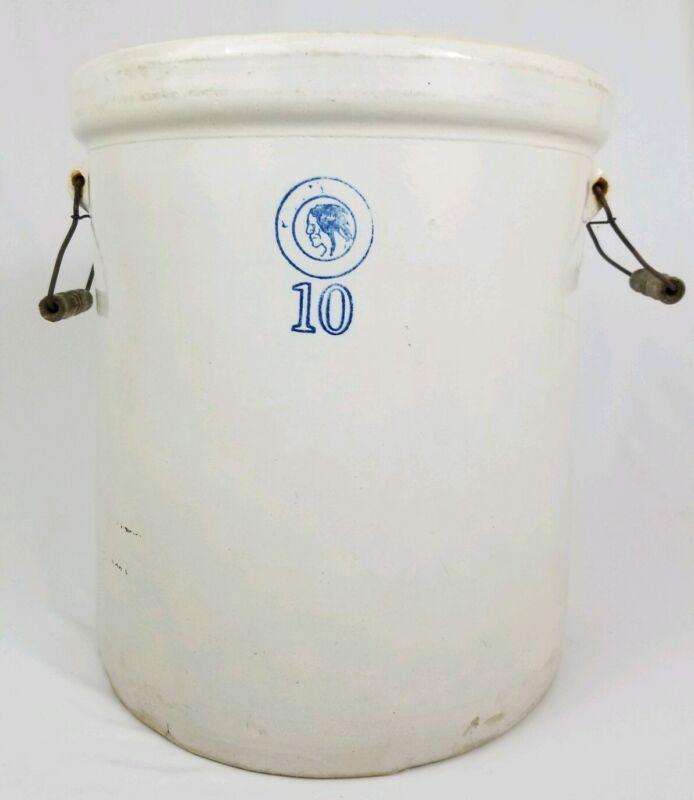 Antique Louisville Pottery Stoneware Crock With Handles Primitive 10 GL Vintage