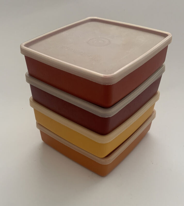 Tupperware Set of 4 Red, Yellow Square Away Sandwich Containers #670 Vintage