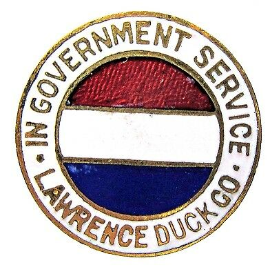 WWI IN GOVERNMENT SERVICE LAWRENCE DUCK CO. Mass. enamel collar lapel stud +