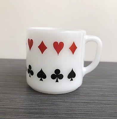 Federal Glass Poker Mug - Hearts Spades Diamonds Clubs Cards