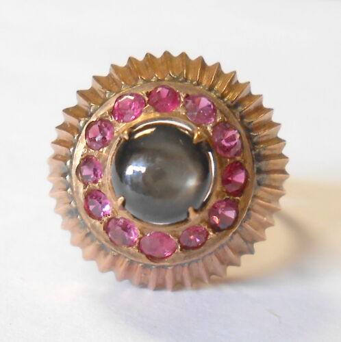 Unique Vintage Black Sapphire & Ruby 10K Gold Princess Style Tiered Ring Size 7
