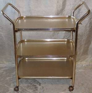 Retro WOODMET Anodised 3 Tier English Made Tea Hostess Trolley South Windsor Hawkesbury Area Preview