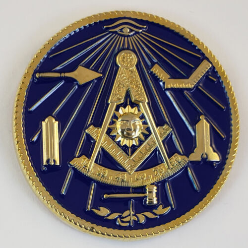 Mini Auto Emblem Past Master Working Tools Metal Masonic Freemason Mason