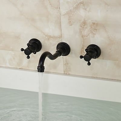 Oil Rubbed Bronze Wall Mount Bathroom Basin Vanity Sink Faucet Tub Mixer Tap