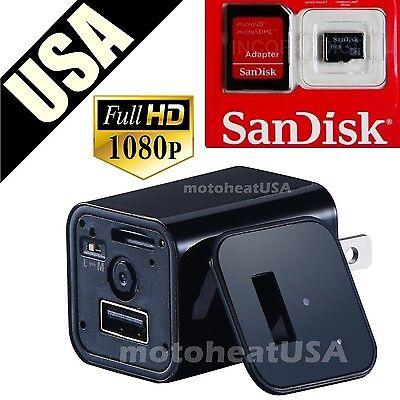 32GB 1080P USB Mini SPY Motion Hidden Wall Charger Camera US Adapter FULL HD Cam