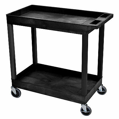 Black 2 Shelf Plastic Storage Cart Tub Casters Utility Service Wagon Wheels New