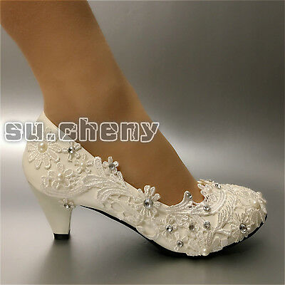 7ff00a2ddf8f su.cheny Lace white ivory crystal flats low high heel pump Wedding Bridal  shoes