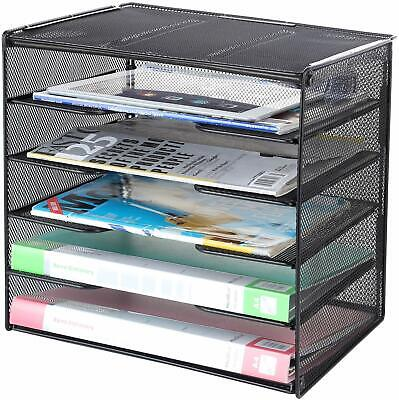 Pro Space Mesh Desktop Papers Letters File Organizer-5 Tier Letter Tray In Black