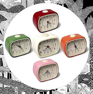 Retro Alarm Clock VARIOUS COLOURS Red/Orange/Green/Pink- Vintage Bedroom Eames