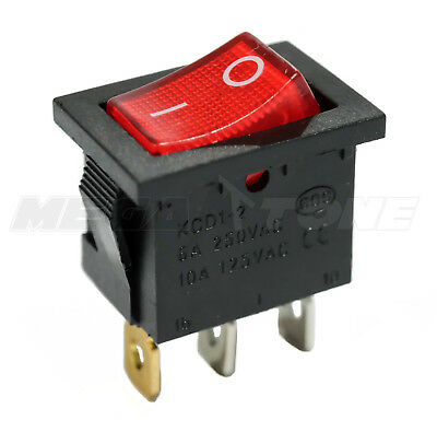 Spst Kcd1 Mini Rocker Switch W Illuminated Red Lamp On-off 6a250vac Usa Seller