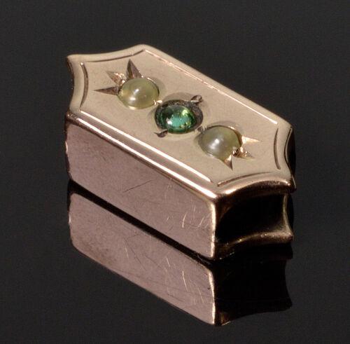 ANTIQUE VICTORIAN 14K ROSE GOLD PEARL SLIDE CHARM FOR BRACELET 002665