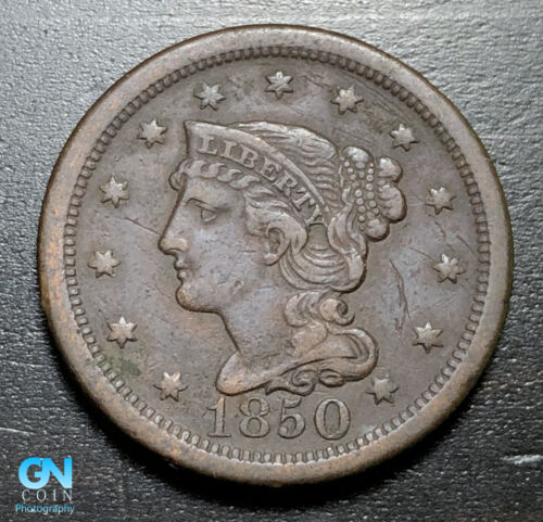 1850 Braided Hair Large Cent --  MAKE US AN OFFER!  #B3282