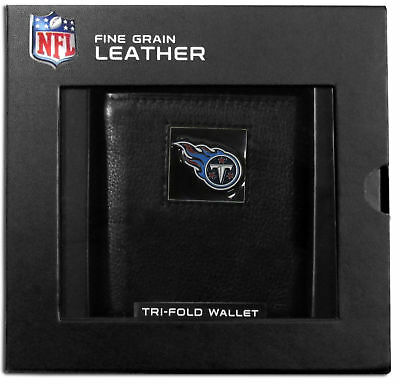 Tennessee Titans NFL Deluxe Leather Tri-fold Wallet Packaged in Gift Box Clip