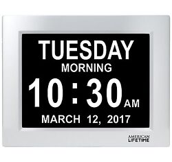 American Lifetime Large Impaired Vision Digital Day Clock 5 Alarm options Silver