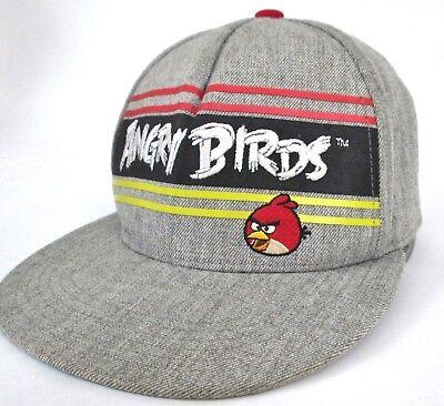 "Angry Birds Cap ""Bird is the Word"" Flat Bill Gray Snapback Hat Wool Blend Gray"