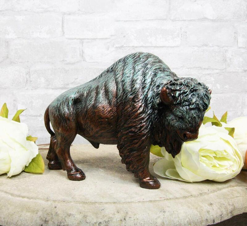 "Ebros Green Patina Native American Bison Buffalo Decorative Resin Figurine 8.5""L"