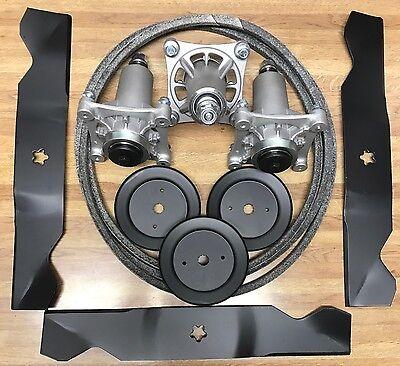 """Husqvarna 54"""" Deck Rebuild Kit 2454 Blades Spindles Belt 196103 Pulleys FREE S&H"""