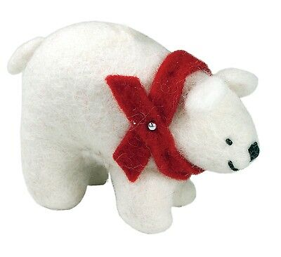 Arctic Polar Bear with Red Scarf Holiday Ornament Felted Wool Fair Trade - NEW