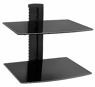 Mount-It! Floating Wall Shelf with 2 Tempered Glass Shelves Single Stud Black