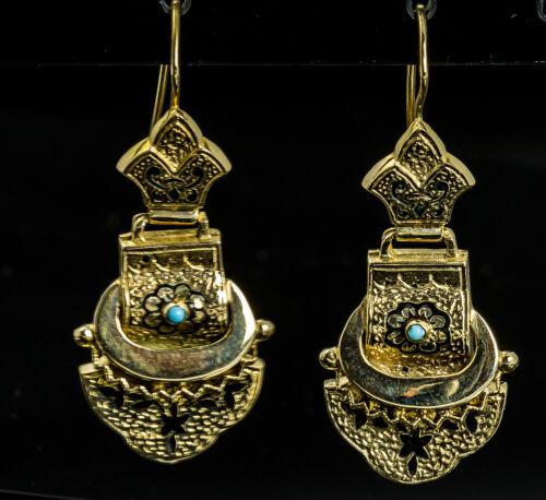 Victorian 14 Karat Gold Drop Wire Earrings with Black Enamel