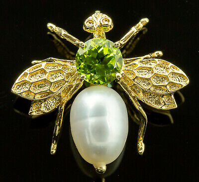 14K Yellow Gold Peridot and Pearl Bee Pendant