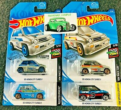 Hot Wheels - Lot of 4 - HONDA  '85 City TURBO - ZAMAC Black Blue Silver - C150