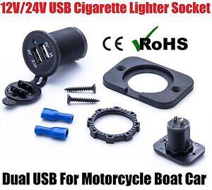 12V/24V USB Twin Dual Power Motorcycle Boat Car Cigarette Lighter Socket Plug UK